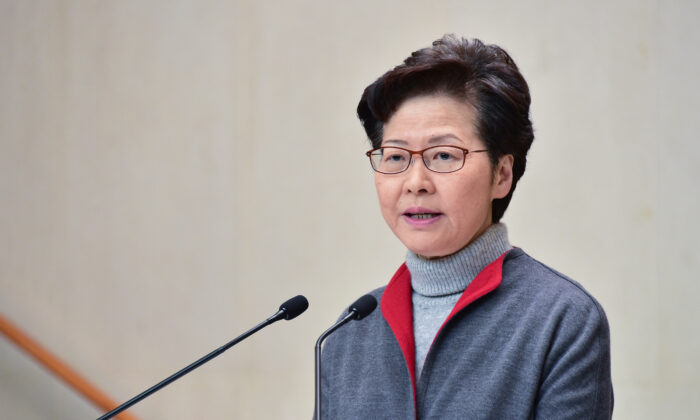 Hong Kong leader Carrie Lam speaks in her weekly press conference in Hong Kong on Jan. 14, 2020. (Bill Cox/The Epoch Times)