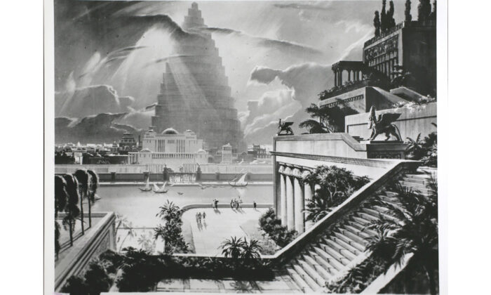 The city of Babylon, with the Tower of Babel in the distance, and one of the Ancient Seven Wonders, the Hanging Gardens, is shown in this re-construction by Artist Mario Larrinaga. Built by King Nebuchadnezzar to please one of his wives, it is shown by means of this painting in Cinerama, Babylon.  Hulton Archive/Getty Images