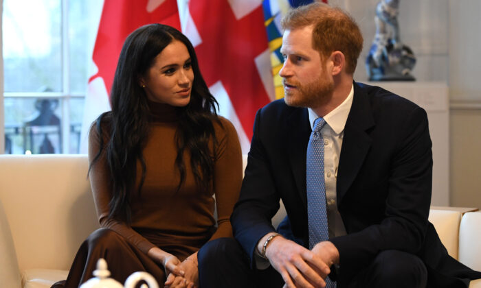 Prince Harry and his wife Meghan during their visit to Canada House in London, England, in thanks for the warm Canadian hospitality and support they received during their recent stay in Canada on Jan. 7, 2020.  (Daniel Leal-Olivas/Getty Images)