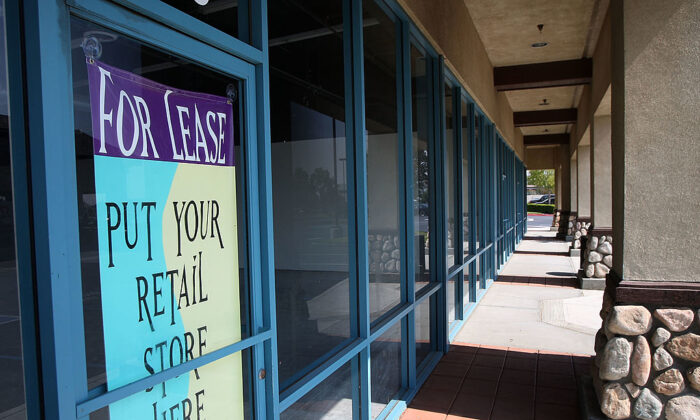 Retail space for lease in a strip mall in Fontana, Calif., on Oct. 8, 2009. (David McNew/Getty Images)