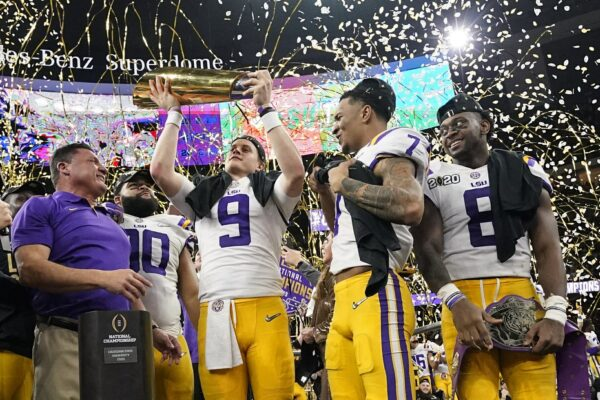 LSU quarterback Joe Burrow trophy