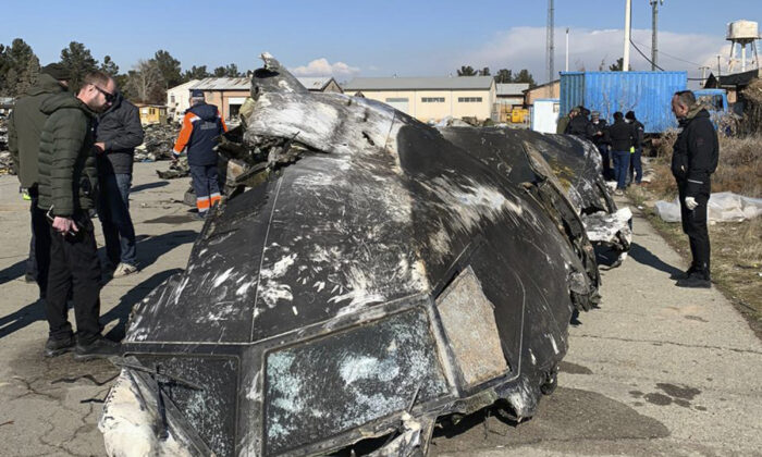 The wreckage of the Ukraine International Airlines Boeing 737-800 at the scene of the crash in Shahedshahr, southwest of the capital Tehran, Iran, in an undated file photo. (Ukrainian Presidential Press Office via AP)