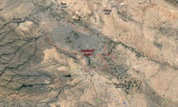 A satellite photo shows the city of Mashhad in Iran, where a Christian pastor was buried. (Google Maps)