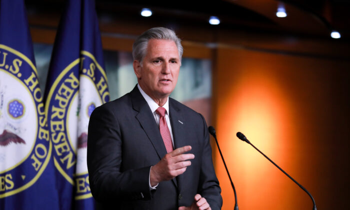 House Minority Leader Kevin McCarthy (R-Calif.) at a press conference in the Capitol in Washington on Jan. 9, 2020. (Charlotte Cuthbertson/The Epoch Times)