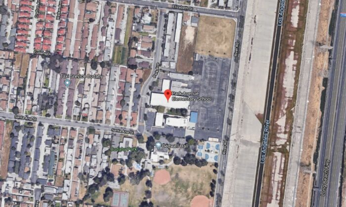 A plane returning to the Los Angeles Airport on Tuesday apparently dumped fuel on a school playground, and paramedics have treated more than a dozen children, said officials. (Google Maps)