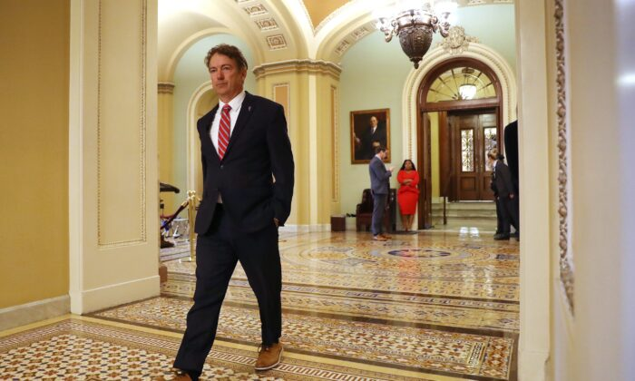 Sen. Rand Paul (R-Ky.) heads for the weekly Senate Republicans policy luncheon at the U.S. Capitol in Washington on Jan. 7, 2020. (Chip Somodevilla/Getty Images)