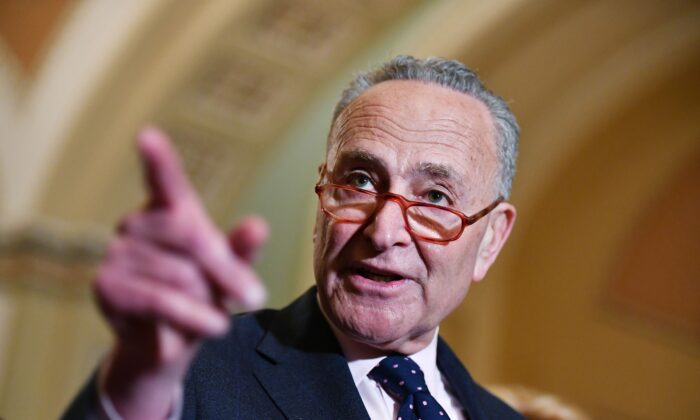 Senate Minority Leader Chuck Schumer speaks to reporters after a policy luncheon at the U.S. Capitol in Washington on Jan. 7, 2020. (Mandel Ngan/AFP via Getty Images)