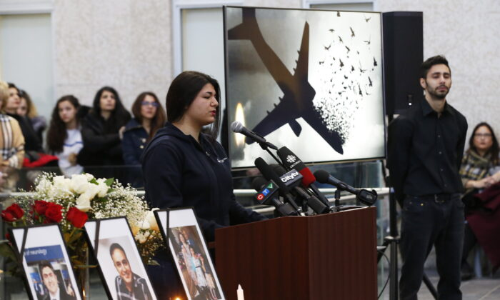 Ayda Mohammadian speaks about her boyfriend Amir Hossein Ghorbani, who died aboard Ukraine flight 752 shot down by Iranian military, at a vigil to honour the victims at the University of Manitoba in Winnipeg on Jan. 10, 2020. (The Canadian Press/John Woods)