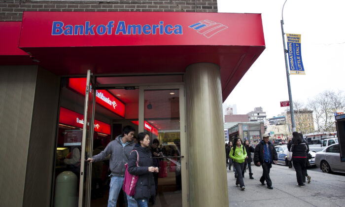 Bank of America in Manhattan, New York on Dec. 15, 2011. (The Epoch Times)