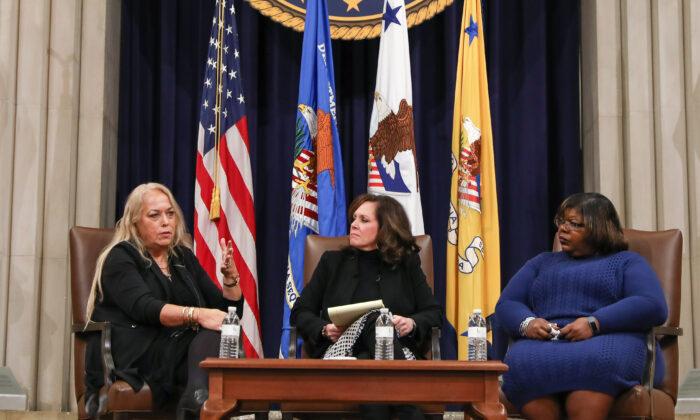 (L-R) Barbara Amaya, sex trafficking survivor, Erica MacDonald, U.S. Attorney for the District of Minnesota, and Barbara Jean Wilson, sex trafficking survivor, at a human trafficking summit at the Department of Justice in Washington on Jan. 14, 2020. (Samira Bouaou/The Epoch Times)