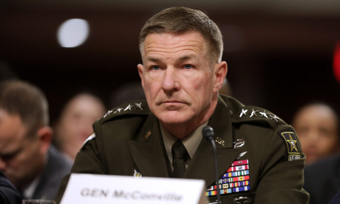 Army Chief of Staff Gen. James McConville testifies before the Senate Armed Services Committee in the Dirksen Senate Office Building on Capitol Hill in Washington on Dec. 3, 2019. (Chip Somodevilla/Getty Images)