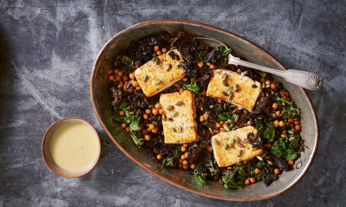 Baked feta with greens and lemon-tahini dressing, one of Yasmin Fahr's go-to weeknight meals. (Patricia Niven)