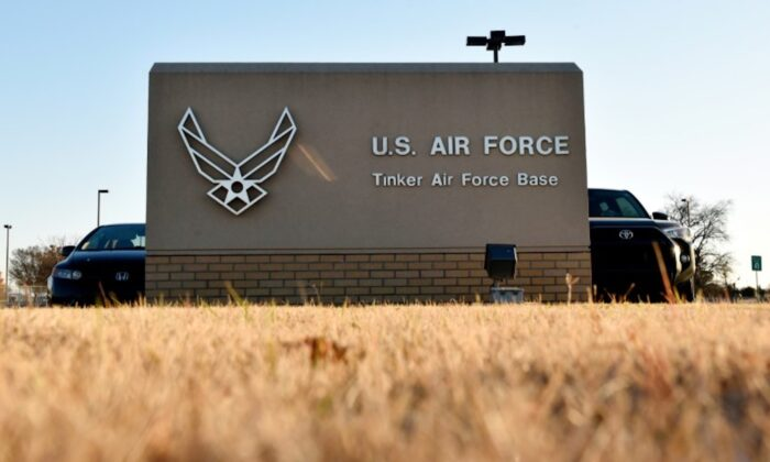 An entry gate is seen at Tinker Air Force Base, Oklahoma, on Nov. 26, 2018. (Nick Oxford/Reuters)