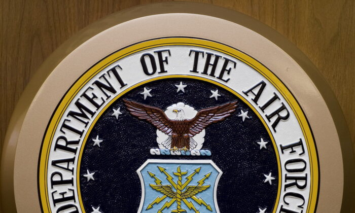 The Department of the Air Force seal hangs on the wall at the Pentagon in Washington, on Feb. 24, 2009. (Paul J. Richards/AFP via Getty Images)