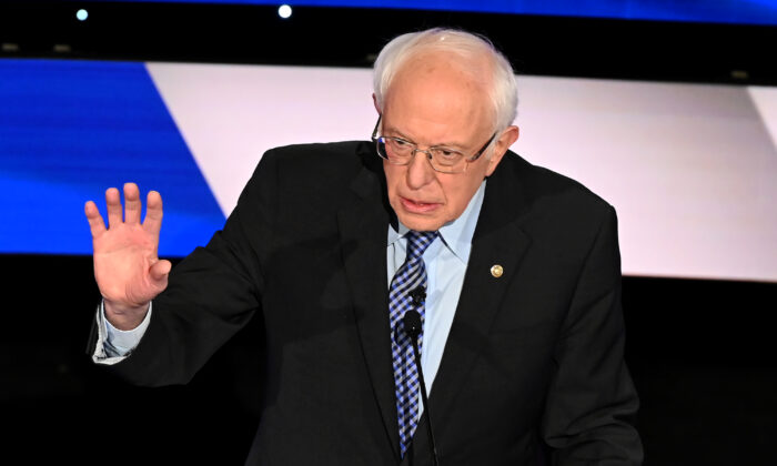 Sen. Bernie Sanders (I-Vt.) during the seventh Democratic primary debate of the 2020 presidential campaign season at the Drake University campus in Des Moines, Iowa, on Jan. 14, 2020. (Robyn Beck/AFP via Getty Images)