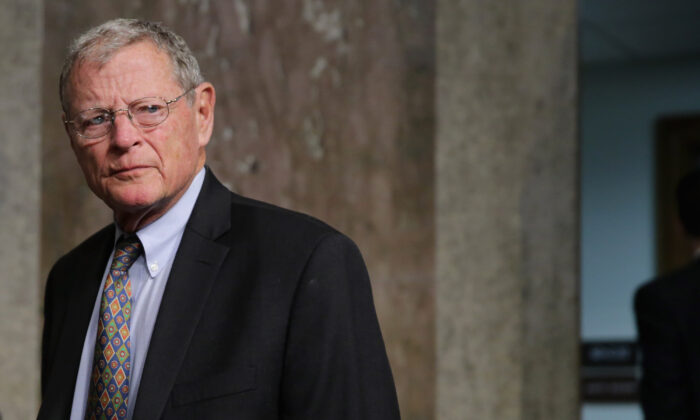 Senate Armed Services Committee member Sen. James Inhofe (R-Okla.) arrives for hearing about the Pentagon budget in the Dirksen Senate Office Building on Capitol Hill in Washington on March 17, 2016. (Chip Somodevilla/Getty Images)