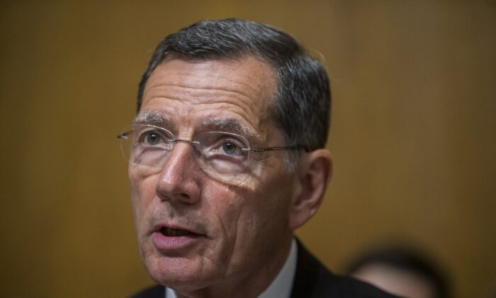 Sen. John Barrasso (R-Wyo.) speaks in Washington in a file photograph. He said on Jan. 15, 2020, that the USMCA trade deal would be approved on Jan. 16, 2020. (Zach Gibson/Getty Images)
