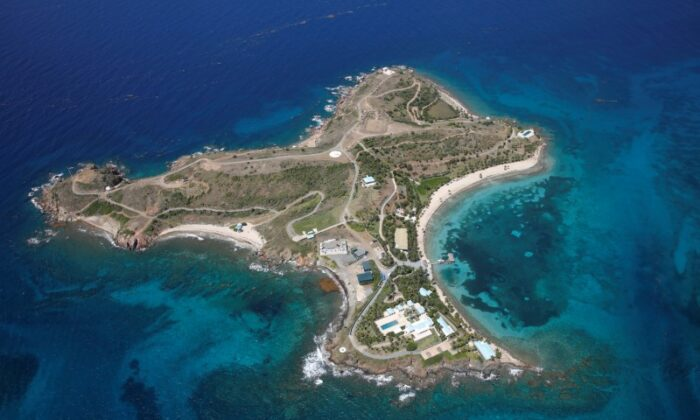 Little St. James Island, one of the properties of financier Jeffrey Epstein, in an aerial view near Charlotte Amalie, St. Thomas, U.S. Virgin Islands, on July 21, 2019. (Reuters/Marco Bello/File Photo)