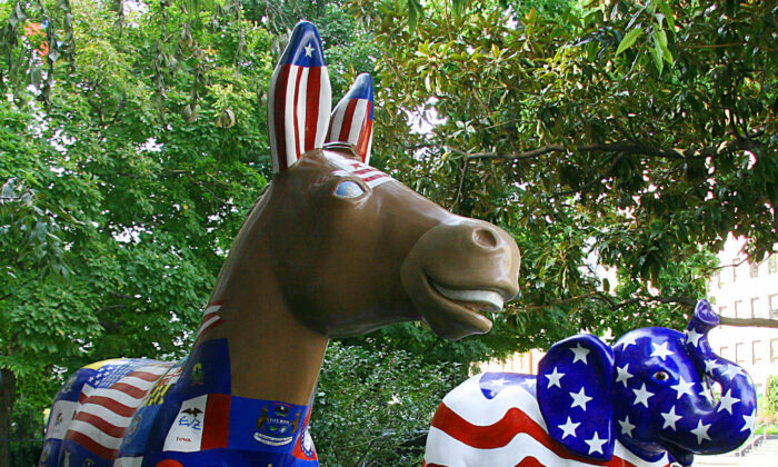 The symbols of the Democratic (donkey) and Republican (elephant) parties are seen on display in Washington on Aug. 25, 2008. (KAREN BLEIER/AFP via Getty Images)