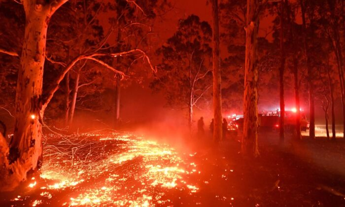 Burning embers cover the ground as firefighters battle against bushfires around the town of Nowra in the Australian state of New South Wales on Dec. 31, 2019. (SAEED KHAN/Getty Images)