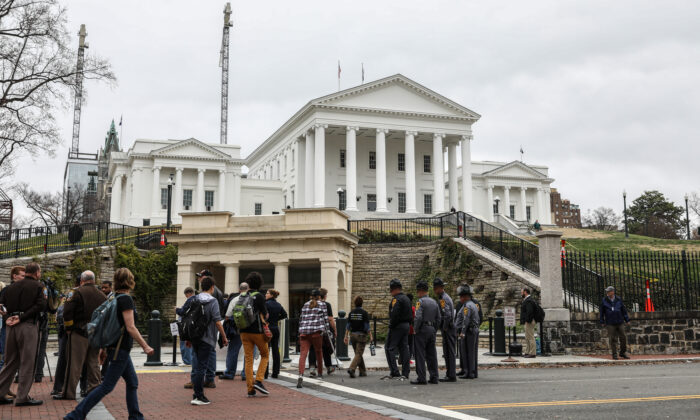 Second Amendment advocates after a hearing where four gun control bills passed the Senate Judiciary Committee at the Virginia State Capitol in Richmond, Va., on Jan. 13, 2020. (Samira Bouaou/The Epoch Times)
