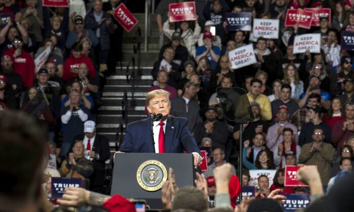 """President Donald Trump speaks at a """"Keep America Great"""" campaign rally at the Huntington Center in Toledo, Ohio, on Jan. 9, 2020. (Brittany Greeson/Getty Images)"""