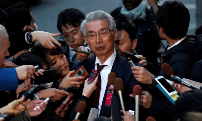 unichiro Hironaka, chief lawyer of the former Nissan Motor chairman Carlos Ghosn, attends a news conference at Foreign Correspondents' Club of Japan in Tokyo on April 9, 2019. (Issei Kato/Reuters-File)