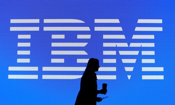 The IBM logo is seen at a trade show in in Las Vegas, Nevada on Jan. 8, 2019. (Justin Sullivan/Getty Images)