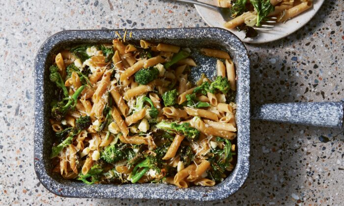 Garlicky charred greens with penne. (Patricia Niven)