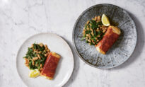 Prosciutto-Wrapped Cod With Garlicky Spinach
