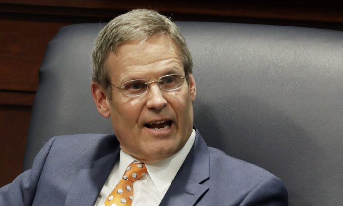 Tennessee Gov. Bill Lee takes part in a discussion on state-level criminal justice reform in Nashville, Tenn., on April 17, 2019. (Mark Humphrey/AP Photo)