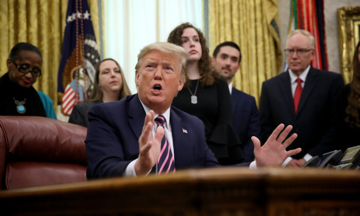 President Donald Trump speaks during an event in the Oval Office announcing guidance on constitutional prayer in public schools in Washington on Jan. 16, 2020. (Win McNamee/Getty Images)