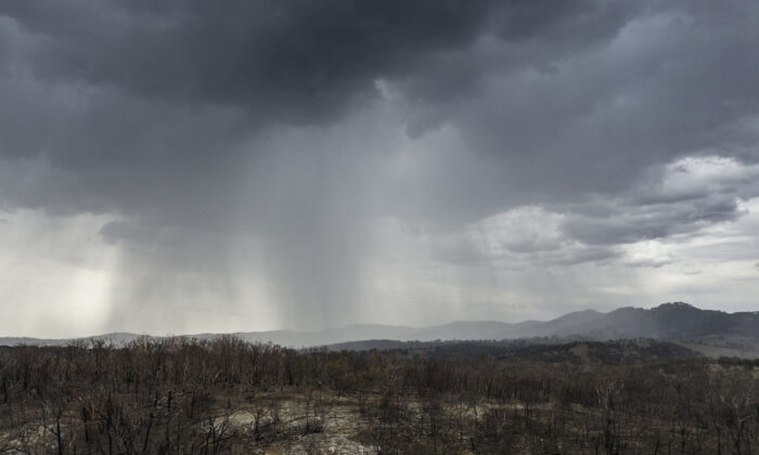 An aerial view as rain begins to fall on drought and fire-ravaged country near Tamworth ahead of predicted further wet weather across NSW and Victoria this week in Tamworth, Australia, on Jan. 15, 2020. (Brook Mitchell/Getty Images)