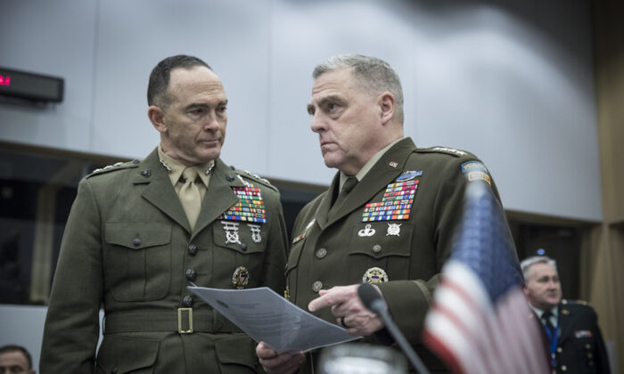 Army Gen. Mark A. Milley, chairman of the US Joint Chiefs of Staff (right) and Maj. Gen. John K. Love, U.S. representative to the NATO Military Committee (left), attend the NATO meetings in Brussels, Belgium, on Jan. 15, 2020. (NATO Photo)