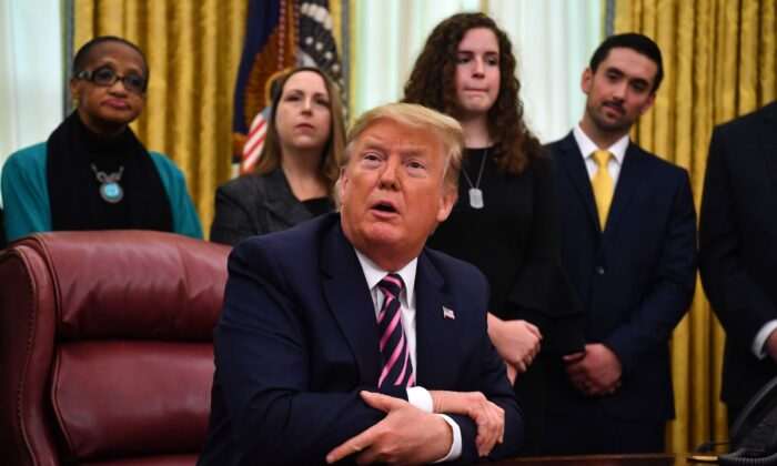 President Donald Trump speaks during the Announcement of the Guidance on Constitutional Prayer in Public Schools, at the White House in Washington, on Jan. 16, 2020. (Nicholas Kamm/AFP via Getty Images)