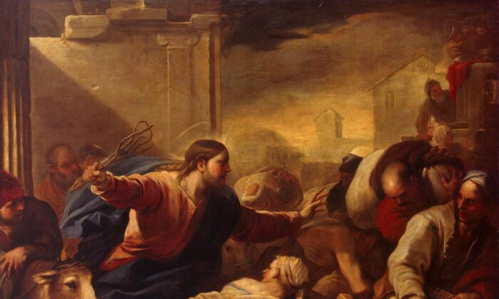 """Expulsion of the Money-Changers from the Temple,"" 1675, Luca Giordano. Oil on Canvas, 78 inches by 103 inches. Hermitage Museum. (Public Domain)"