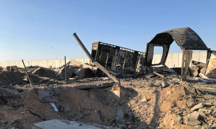 Debris and rubble are seen at the site where an Iranian missile hit at Ain al-Asad air base in Anbar province, Iraq on Jan. 13, 2020. (John Davison/Reuters)