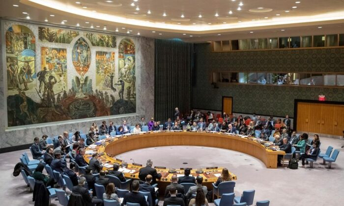 TheUNSecurityCouncilholds a meeting on the Middle East on Nov. 20, 2019 at the United Nations headquarters. (The Canadian Press/AP-Mary Altaffer)