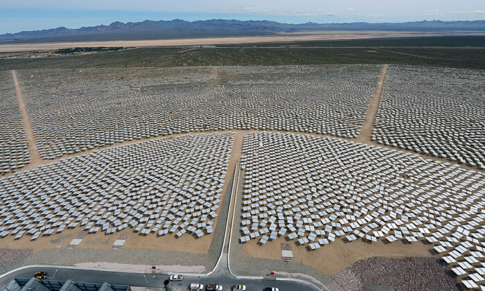 The Ivanpah Solar Electric Generating System, a solar thermal power system that powers some 140,000 homes, in the Mojave Desert in California, on March 3, 2014. A solar project approved by the federal Bureau of Land Management on Jan. 16, 2020, will also make use of California's desert sun to meet lofty green energy goals, powering an estimated 117,000 homes. (Ethan Miller/Getty Images)