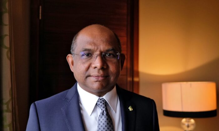 Maldives' Foreign Minister Abdulla Shahid poses after an interview with Reuters in New Delhi, India, on Jan. 16, 2020. (Alasdair Pal/Reuters)