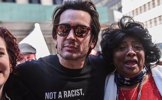 Brandon Straka, founder of the 'WalkAway' movement, (C) attends a rally in support of U.S. President Donald Trump near Trump Tower in New York City on March 23, 2019. (Stephanie Keith/Getty Images)