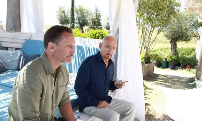 "Benno Fürmann (L) and Ben Kingsley in ""Intrigo: Death of an Author,"" filmed in a lush location. (Lionsgate)"