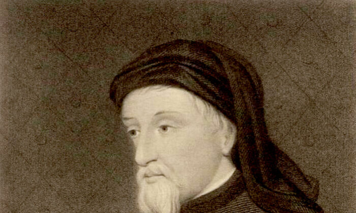 A portrait of the English poet and author Geoffrey Chaucer, from the Welsh Portrait Collection at the National Library of Wales. (Public Domain)