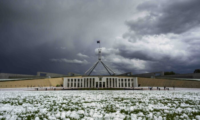 Golf ball-sized hail is shown at Parliament House in Canberra, Australia, on Jan. 20, 2020. (Rohan Thomson/Getty Images)