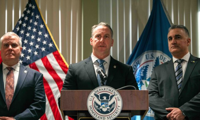Immigration and Customs Enforcement Acting Director Matthew Albence speaks at a press conference in New York City on Jan. 17, 2020. (Scott Heins/Getty Images)