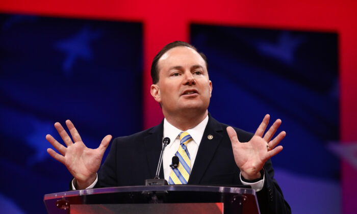Sen. Mike Lee (R-Utah) at the CPAC convention in National Harbor, Md., on Feb. 28, 2019. (Charlotte Cuthbertson/The Epoch Times)