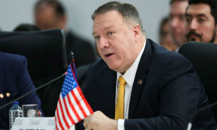 U.S. Secretary of State Mike Pompeo speaks during the III Hemispheric Anti-Terrorism Ministerial Conference at the Francisco de Paula Santander General Police Cadet School, in Bogota, Colombia, on Jan. 20, 2020. (Luisa Gonzalez/Reuters)