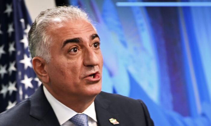 Reza Pahlavi, the Crown Prince of Iran, speaks about current events in Iran at the Hudson Institute in Washington on Jan. 15, 2020. (EVA HAMBACH/AFP via Getty Images)