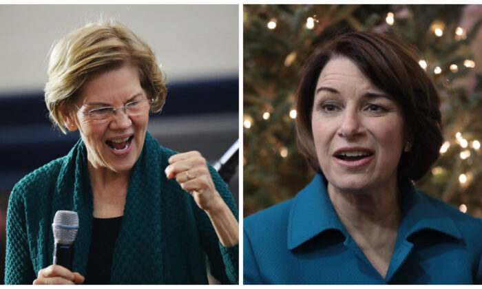 Left: Democratic presidential candidate Sen. Elizabeth Warren (D-Mass.) on the campaign trail in Des Moines, Iowa, on Jan. 19, 2020. (Spencer Platt/Getty Images) Right: Democratic presidential candidate Sen. Amy Klobuchar (D-Minn.) on the campaign trail in Fairfield, Iowa, on Dec. 20, 2019. (Scott Olson/Getty Images)
