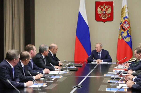 Russian President Vladimir Putin, center, chairs a Security Council meeting at the Novo-Ogaryovo residence outside Moscow